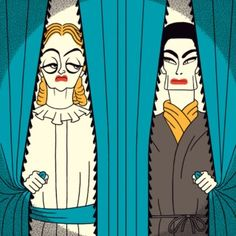Susan Sarandon and Jessica Lange play Bette Davis and Joan Crawford.Illustration for TV drama 'Feud'.