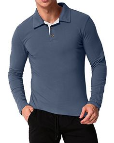 c9d465de546ba MODCHOK Men s Long Sleeve Polo Shirt Casual T-shirts Cotton V Neck Tee Tops  at Amazon Men s Clothing store