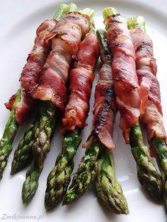 #Szparagi w boczku - super pomysł na przystawkę! Food Facts, Impreza, Asparagus, Vegan, Grilling, Dinner, Vegetables, Cooking, Healthy