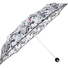 White Comic Print Compact Umbrella