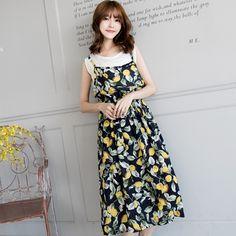 Lemon Print Two Pieces Maxi Dress