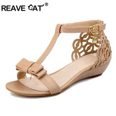 1641e5a1db9f REAVE CAT Large size 33-43 Women Wedge sandals High quality Rhinestone  Fretwork Buckle Strap