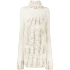 Ann Demeulemeester high neck ribbed sweater dress ($2,140) ❤ liked on Polyvore featuring dresses, rib dress, white color dress, ann demeulemeester, ribbed dress and ribbed sweater dress