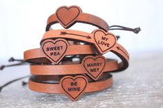 PERSONALIZED Leather Bracelet  Valentines Day by GoWildBoutique
