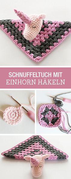 Süßes Tuch mit Einhorn häkeln, Häkelideen / crocheting inspiration: how to crochet a scarf with little unicorn via DaWanda.com