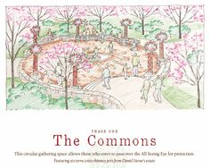 A sketch of The Commons at the upcoming Lost Hollow: The Kimbrell Children's Garden, at Daniel Stowe Botanical Garden.