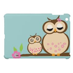 Cute cartoon mom and baby owl iPad mini cases