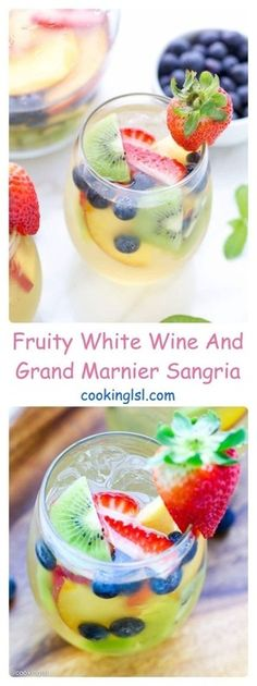 This fruity white wine and Grand Marnier Sangria is fresh, easy to make and perfect to share with your friends. Party Food And Drinks, Fruit Drinks, Smoothie Drinks, Alcoholic Drinks, Beverages, Fruit Party, Drinks Alcohol, Wine Drinks, Sangria Recipes