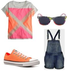 Nail the overall trend If you're a casual gal, go for dark shorteralls and a graphic tee with colorful sneakers for a bright and fun outfit.