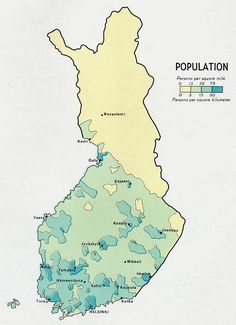 Finland Population Map, 1969; Categories: Thematic, Environmental Management, Visualization