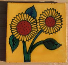 """10~Talavera Mexican tile pottery hand painted 4"""" Gold Yellow double Sunflower Dream Catcher, Tiles, Mexican, Pottery, Hand Painted, Yellow, Tattoos, Gold, Painting"""