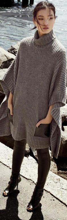 Oversized knit wear. 2015 style. Found similar style at Zara Stradivarius Mango and H&M
