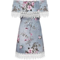 WearAll Denim Lace Trim Floral Belt Bardot Dress (€23) ❤ liked on Polyvore featuring dresses, vestidos, day dresses, blue, mini dress, short dresses, blue mini dress, off the shoulder dress and blue sleeveless dress