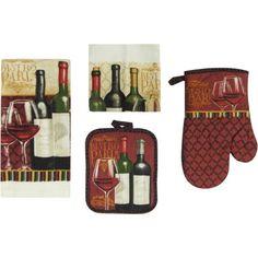 Mainstays Wine 7-Piece Kitchen Set, Multicolor
