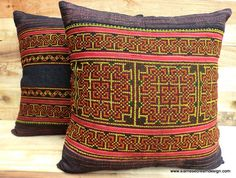 Vintage Hmong blue batik and embroidered pillows