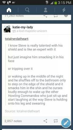 Steve tripping over his shield.
