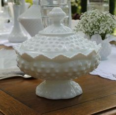 Hobnail candy dish with lid is a pretty vintage piece for your vintage wedding, Rent $10 from Southern Vintage at southernvintagegeorgia.com. Wedding rentals, party rentals, event rentals, photo shoot  rentals