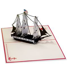 An amazing paper 3D replica of the USS Constitution. A historical greeting card perfect for travelers, history buffs, or dads!