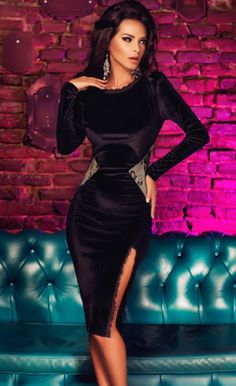 eb2d6b9c9c34  42.99 Black Long Sleeve Velvet Midi Dress Dresses With Sleeves