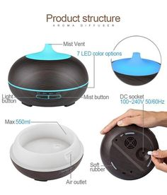 USB Air Humidifier Aroma Diffuser remote control 7 Colors Changing LED Lights cool mist maker Air Purifier for Home Air Humidifier, Aroma Diffuser, Natural Essential Oils, Air Purifier, Mists, Remote, Usb, The Unit, Colors