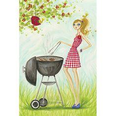 "East Urban Home Backyard BBQ #2 by Bella Pilar Painting Print on Canvas Size: 26"" H x 18"" W x 0.75"" D"