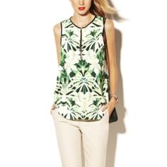 NWT Vince Camuto grass floral abstract print tank Size medium front zip up flowy lightweight top - gorgeous mirror image floral print - similar to zara style tops - model is wearing a large - generous fit - fits - medium - large - vegan faux leather trim - Vince Camuto on label tag Vince Tops Tank Tops