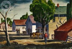 Charles Payzant - Two Horse Town, c. 1939, California art, original California watercolor art for sale, fine art print for sale, giclee watercolor print - CaliforniaWatercolor.com