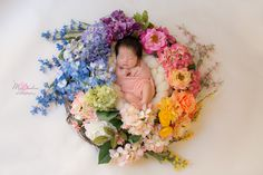 Rainbow Baby Session, Floral Basket, Newborn Rainbow Baby, Newborn Photography, Mia Bambina Photography, San Diego Newborn Photographer, Newborn Session, Floral Newborn Baby, Colorful Newborn Session