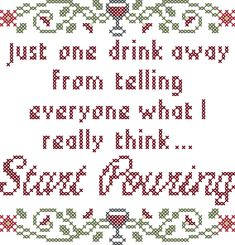 One Drink Away from telling everyone what I really think Subversive cross stitch pattern, funny cross stitch pattern, wine cross stitch by oneofakindbabydesign on Etsy
