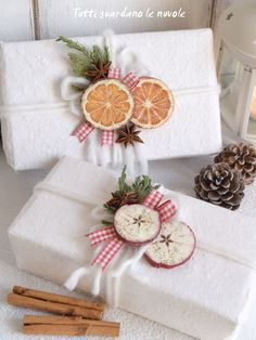 DIY Holiday Gift Embellishments - Create apples and oranges from painted wood slices to use as beautiful country inspired gift toppers!