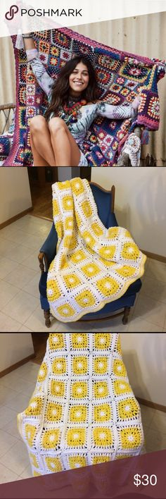"""Vintage Crocheted Afghan Pretty hand crocheted afghan. Measurements of this item are 60""""L x 40""""W. Comprised of acrylic yarn, this piece is in EUC. Bright Sunshine yellow and white gives this piece a summery feel. Bohemian vibe inspired, this afghan is perfect for summer festivals, to wrap in at dusk to watch fireworks by the lake, or a great throw to have at the cabin. A well constructed piece, a lot of love went into it! Not Spell and the Gypsy Collective, just added for views. Cross…"""