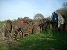 These photographs by Ian Comley were taken a couple of years ago and show the remains of Fowler ploughing engine diesel conversions lying derelict at Wixford, near Stratford-upon-Avon. Once owned. Steam Tractor, Stratford Upon Avon, Antique Tractors, Color Theory, Cannon, Abandoned, Diesel, Engineering, Photographs