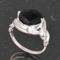 BLACK ONYX CUT 925 SOLID STERLING SILVER DESIGNER RING 5.38g DJR6006 #Handmade #Ring