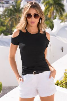 Why wear a basic black tee when you can wear this cold shoulder tee for only $39! SO SEXY™️ CUTOUT NECKLINE TEE from Boston Proper. #BostonProper