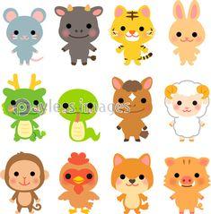 かわいい十二支のイラストセットの写真・イラスト素材 (xf3975330821) │ペイレスイメージズ Animals And Pets, Cute Animals, Zodiac Characters, Board Decoration, Cat Icon, Cute Patches, Chinese Zodiac, Cute Doodles, Kawaii Drawings