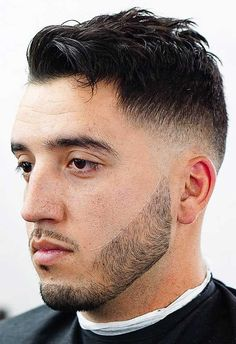 Skin Fade with Messy Top - Spruce up your mid-length locks with a messy top and skin fade. This fade bursts from the ear and severs the cool top from the beard. The divergence leads to focus on the facial hair and the engaging mess on top. Best Fade Haircuts, Mens Modern Hairstyles, Black Men Haircuts, Men's Haircuts, Men Short Hair Fade, Short Hair Cuts, Short Hair Styles, Textured Haircut, Undercut Hairstyles