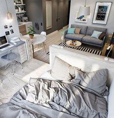 Stylowe małe mieszkanie - sypialnia.