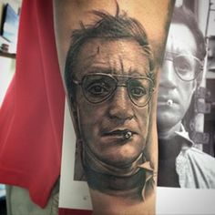 """""""You're gonna need a bigger boat."""" - I tattooed this portrait today of Brody from one of the greatest movies ever... Jaws."""