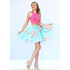 Coral Blue Short Applique Two Piece Halter Neck Prom Dress via Polyvore featuring dresses, lace prom dresses, halter crop top, 2 piece homecoming dress, prom dresses and blue prom dresses