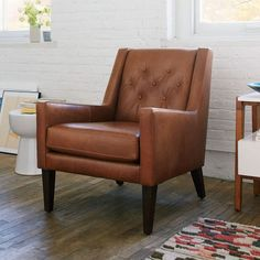 """$849,Library Leather Chair   west elm,32""""w x 29""""d x 34""""h"""