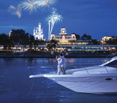 Book a romantic fireworks cruise. You can avoid the crowds and enjoy the Magic Kingdom's or Epcot's fireworks (along with champagne) from the comfort of a private yacht.