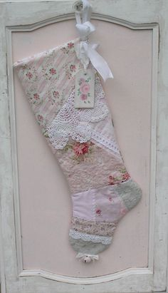 Victorinan Christmas Stocking - Pink Quilted Patchwork , Shabby Chic Cottage, Vintage Crochet - Personalize Tag. $49.95, via Etsy.