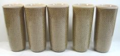 5 Vintage Burlap Straw Weave Raffia Ware Melmac Drinking Glasses TiKi