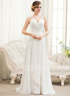 A-Line/Princess V-neck Sweep Train Chiffon Tulle Wedding Dress With Beading Sequins Cascading Ruffles Wedding Dress Chiffon, Wedding Party Dresses, Bridesmaid Dresses, Tulle Wedding, Our Wedding, Ivory Dresses, Special Occasion Dresses, Bridal Gowns, Marie