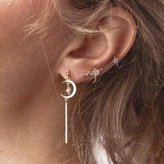 Giulia Cute Moon & Star Cartilage Piercing Ear Cuff Earring Set 3 Pieces in Gold – Galena U. Giulia Cute Moon & Star Cartilage Piercing Ear Cuff Earring Set 3 Pieces in Gold – Ear Jewelry, Jewelry For Her, Fine Jewelry, Jewelry Ideas, Tragus Jewelry, Jewellery, Jewelry Trends, Body Jewelry, Jewelry Box