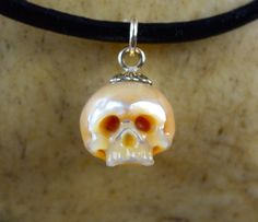 READY TO SHIP  Hand Carved Pearl Skull Pendant by ArloEdgeWalker