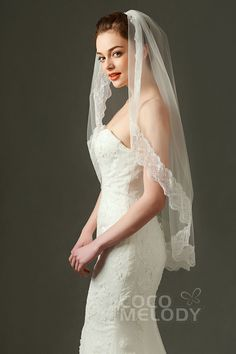 Elegant One-tier Lace Edge Tulle Ivory 100*170cm Hip Veils with Appliques and Beading AV160021