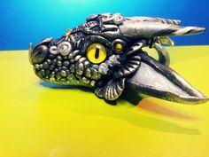 Silver and Black Dragon Head Pendant by AstridMakosla.deviantart.com on @deviantART