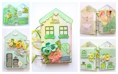 """If you love the Julie Nutting doll stamps, then you are going to love this interactive doll house Keren Tamir created for her daughter! Keren stamped and cut three separate """"dolls"""" which are tucked in the inside pocket of the book. Each book page then features a different room in the gorgeous house! Now how's that for being super creative? #julienutting #dollstamps"""