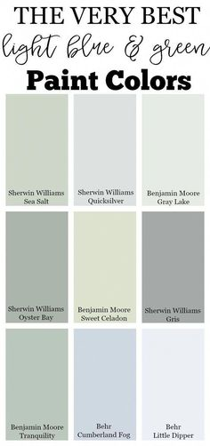 The very Best Light Blue and Green Paint Colors The very best neutral paint colors for your home, including white paint colors, creams, and grays. Check out this full guide to neutral paint colors! Blue Green Paints, Light Blue Paints, Blue Gray Paint, Blue Green Rooms, Blue And Green Living Room, Best Neutral Paint Colors, Green Paint Colors, Light Paint Colors, Pastel Paint Colors